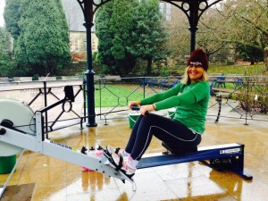 Jo rowing her half marathon at Ilkley Bandstand