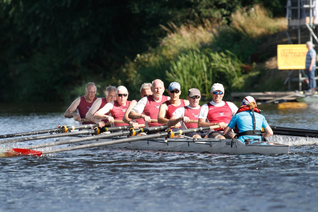 Monmouth's Coffin Dodgers crossing the line at Stourport BC - photograph by Ben Rodford