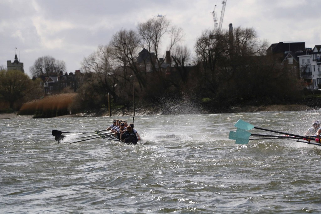 The Tideway spoiling for a fight. The crews fight back. Pic by Ian Howell.
