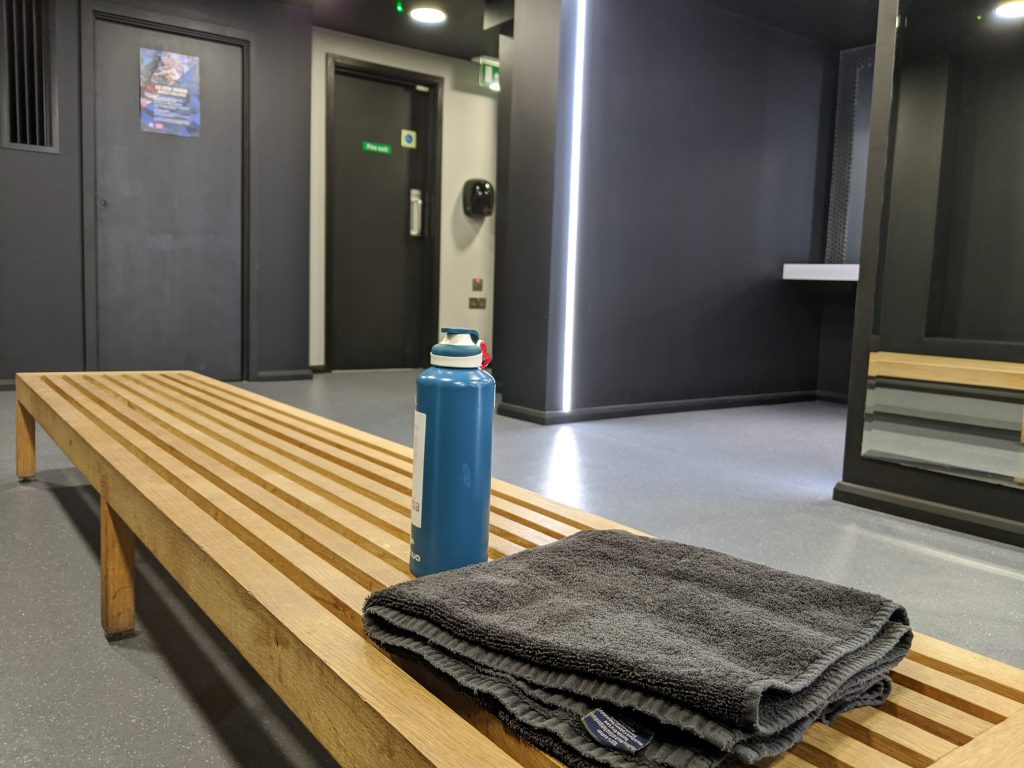 Indoor rowing classes - the changing rooms at Engine Room London